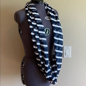 Navy and Cream striped Infinity Scarf.
